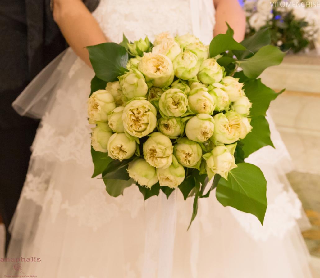 bouquet di rose blanchette anaphalis