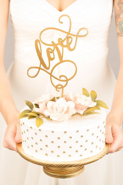 cake topper love anaphalis